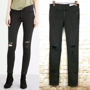 Rag & Bone The Skinny Jeans Soft Black With Holes